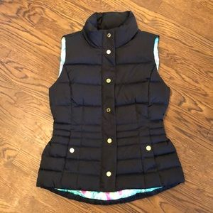 Lilly Pulitzer Isabelle black quilted vest sz S